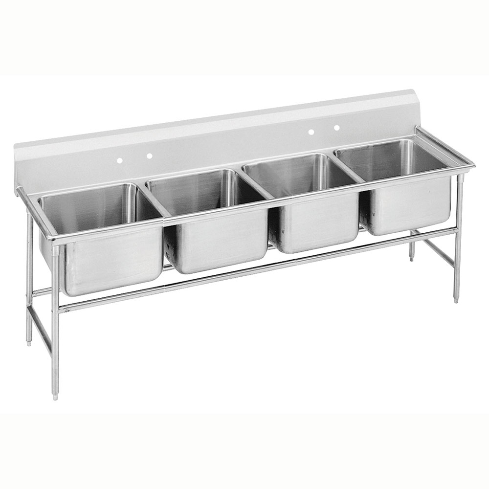 "Advance Tabco 9-24-80 97"" 4-Compartment Sink w/ 20""L x 20""W Bowl, 12"" Deep"