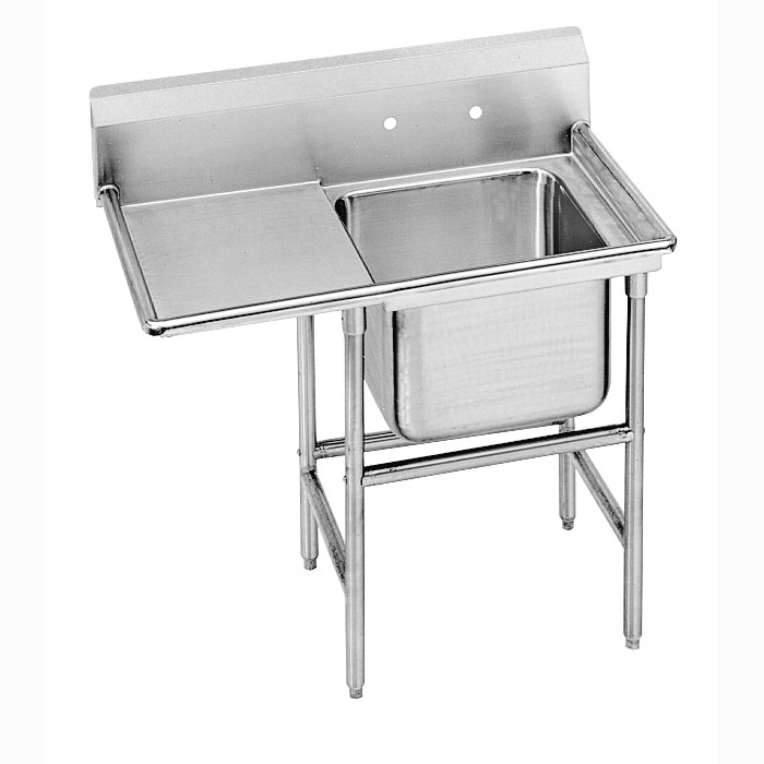 "Advance Tabco 93-1-24-24L 46"" 1-Compartment Sink w/ 16""L x 20""W Bowl, 12"" Deep"