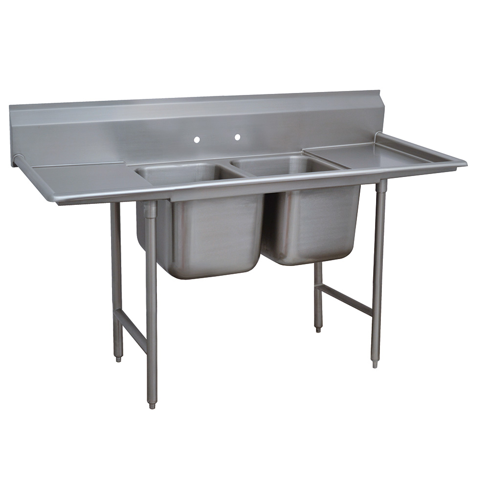 """Advance Tabco 93-2-36-18RL 72"""" 2-Compartment Sink w/ 16""""L x 20""""W Bowl, 12"""" Deep"""