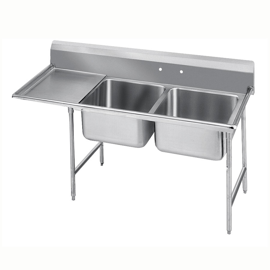 "Advance Tabco 93-2-36-24L 64"" 2-Compartment Sink w/ 16""L x 20""W Bowl, 12"" Deep"