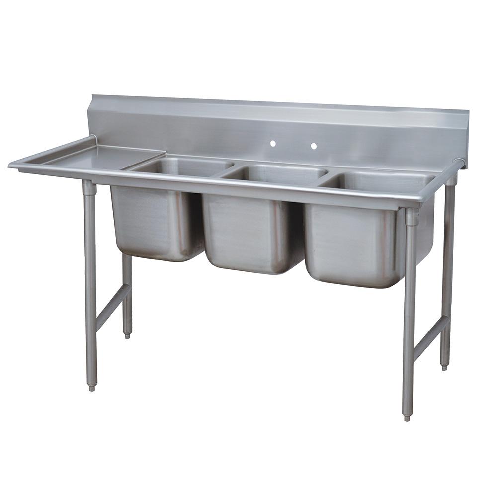 """Advance Tabco 93-3-54-18L 77"""" 3-Compartment Sink w/ 16""""L x 20""""W Bowl, 12"""" Deep"""