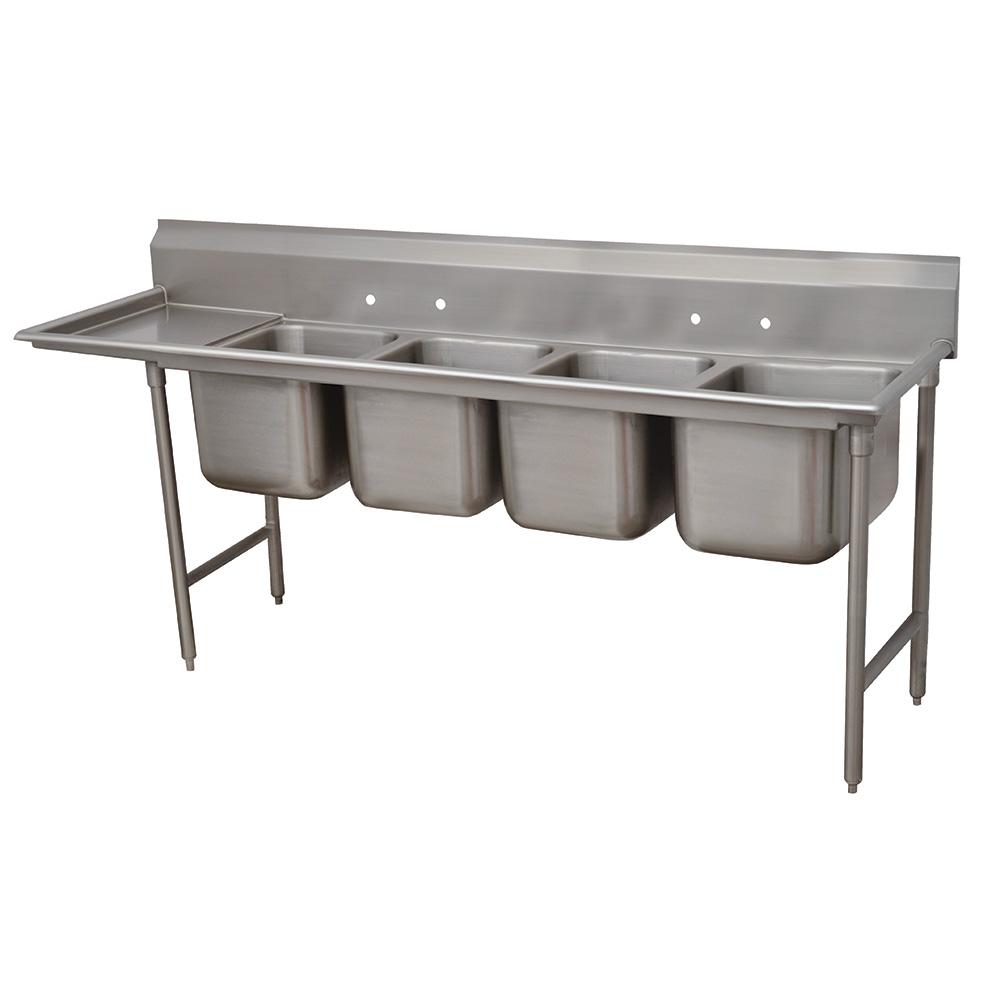 """Advance Tabco 93-4-72-18L 95"""" 4-Compartment Sink w/ 16""""L x 20""""W Bowl, 12"""" Deep"""