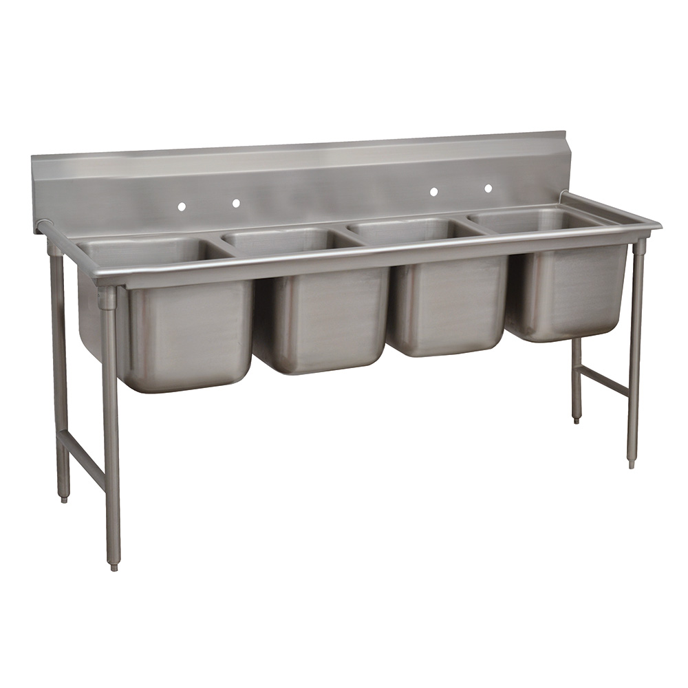 "Advance Tabco 93-4-72-18RL 110"" 4-Compartment Sink w/ 16""L x 20""W Bowl, 12"" Deep"