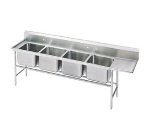Advance Tabco 93-4-72-36R Sink, (4) 20 x 16 x 12-in D, 36-in Right Drainboard, 16-Ga. Stainless