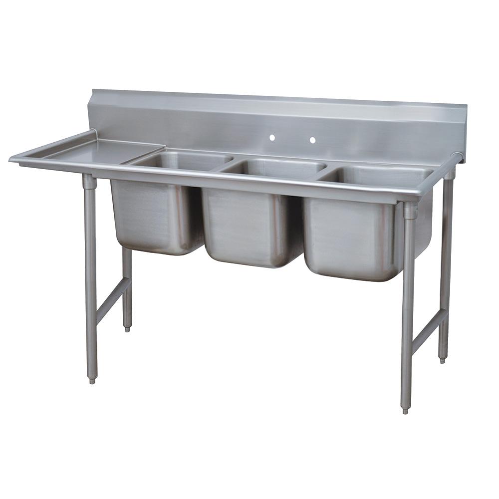 """Advance Tabco 9-3-54-18L 77"""" 3-Compartment Sink w/ 16""""L x 20""""W Bowl, 12"""" Deep"""