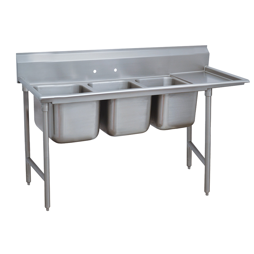 "Advance Tabco 9-3-54-18R 77"" 3-Compartment Sink w/ 16""L x 20""W Bowl, 12"" Deep"