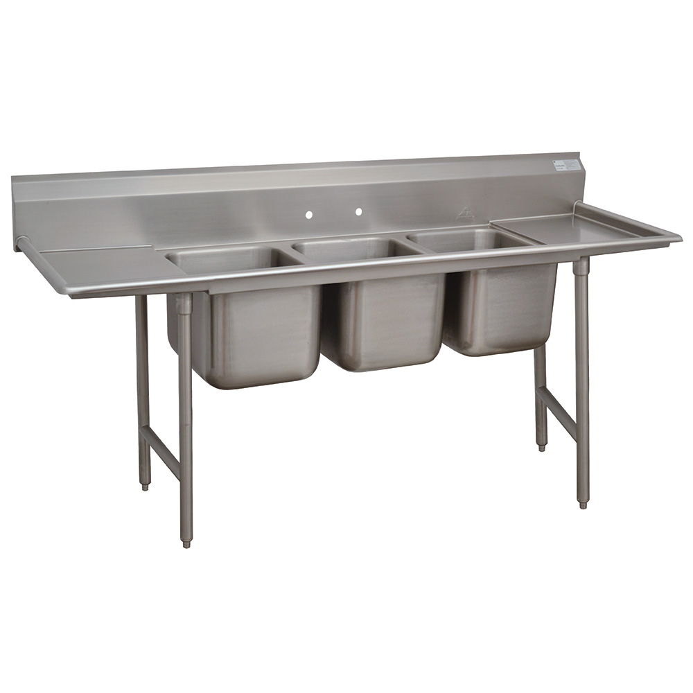 "Advance Tabco 9-3-54-18RL 91"" 3-Compartment Sink w/ 16""L x 20""W Bowl, 12"" Deep"