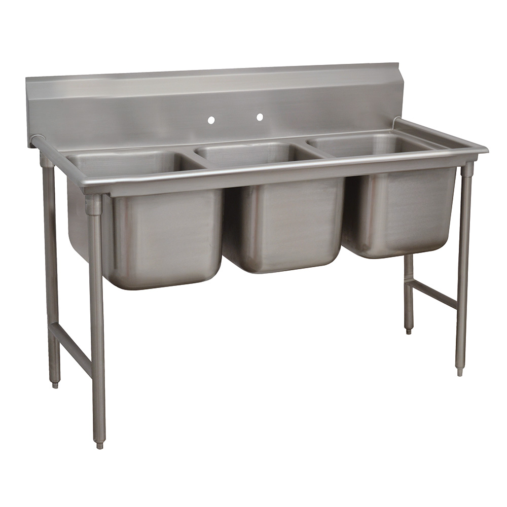 "Advance Tabco 9-3-54 62"" 3-Compartment Sink w/ 16""L x 20""W Bowl, 12"" Deep"