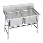 """Advance Tabco 93-82-40 52"""" 2-Compartment Sink w/ 20""""L x 28""""W Bowl, 12"""" Deep"""