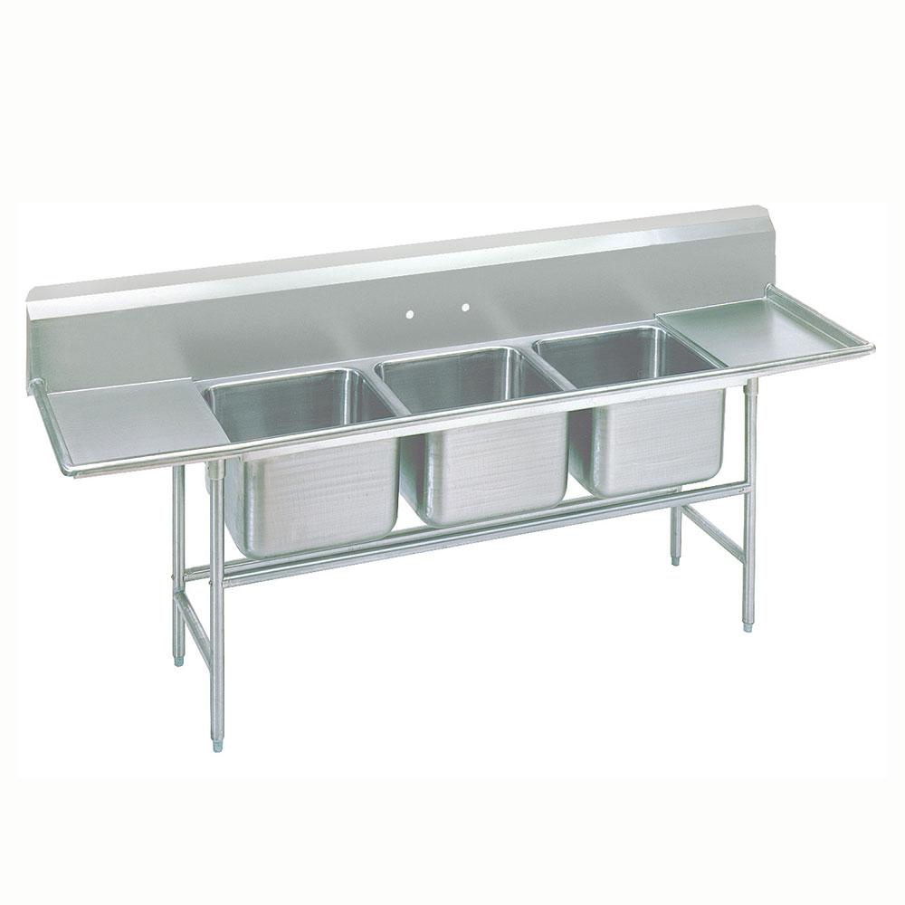 """Advance Tabco 93-83-60-36RL 139"""" 3-Compartment Sink w/ 20""""L x 28""""W Bowl, 12"""" Deep"""