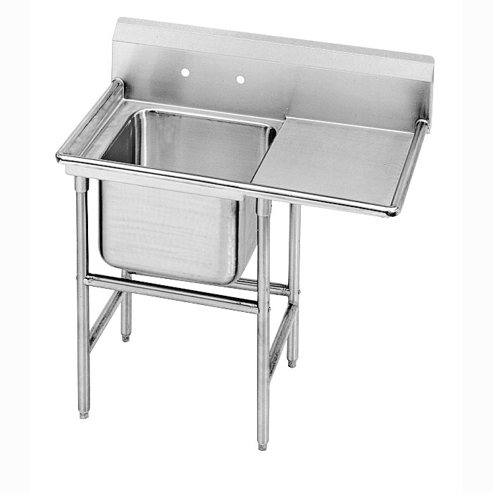 "Advance Tabco 9-41-24-24R 54"" 1-Compartment Sink w/ 24""L x 24""W Bowl, 12"" Deep"