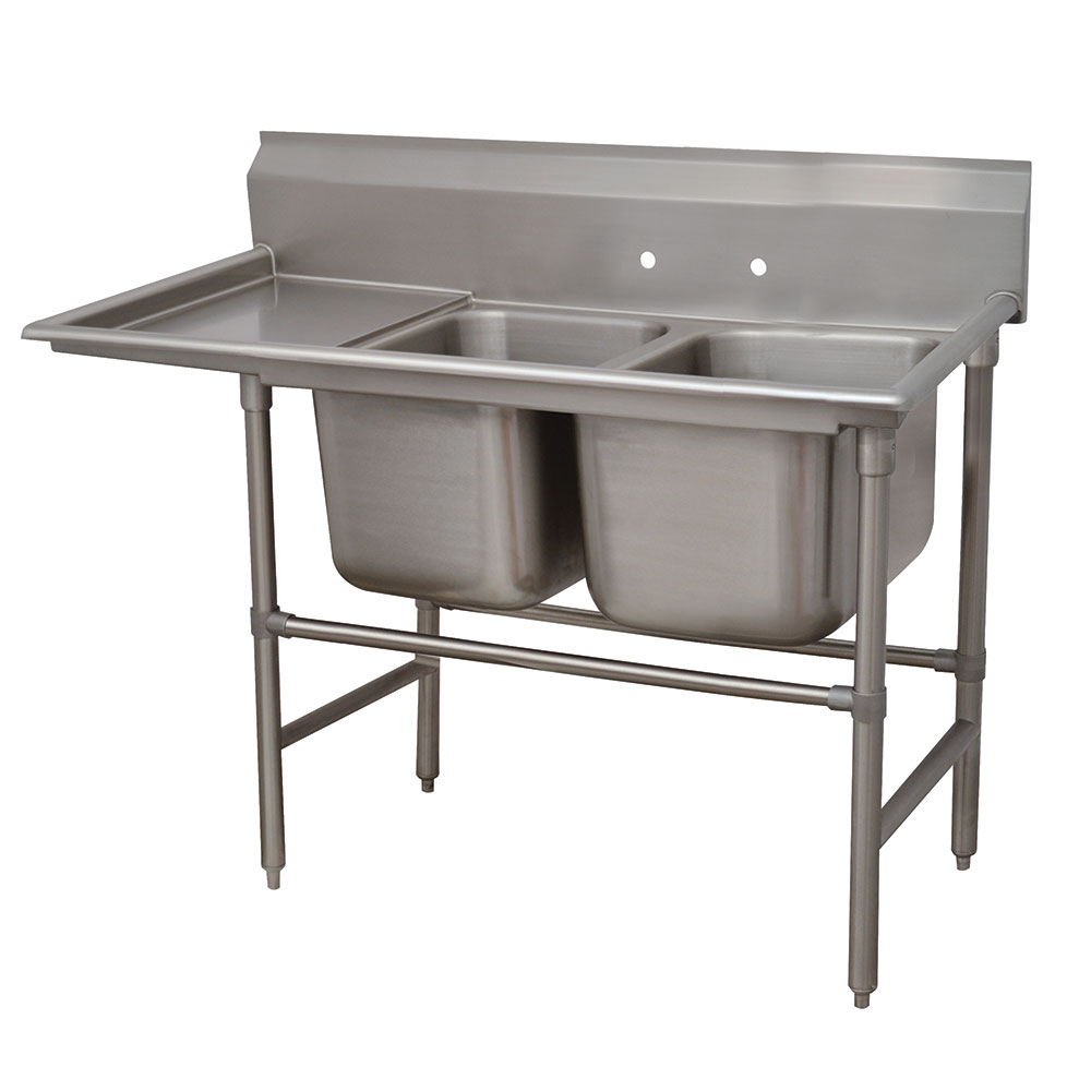 "Advance Tabco 94-2-36-18L 58"" 2-Compartment Sink w/ 16""L x 20""W Bowl, 14"" Deep"