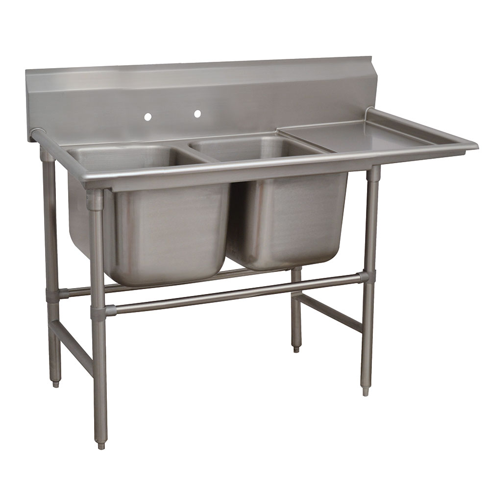 "Advance Tabco 94-2-36-18R 58"" 2-Compartment Sink w/ 16""L x 20""W Bowl, 14"" Deep"