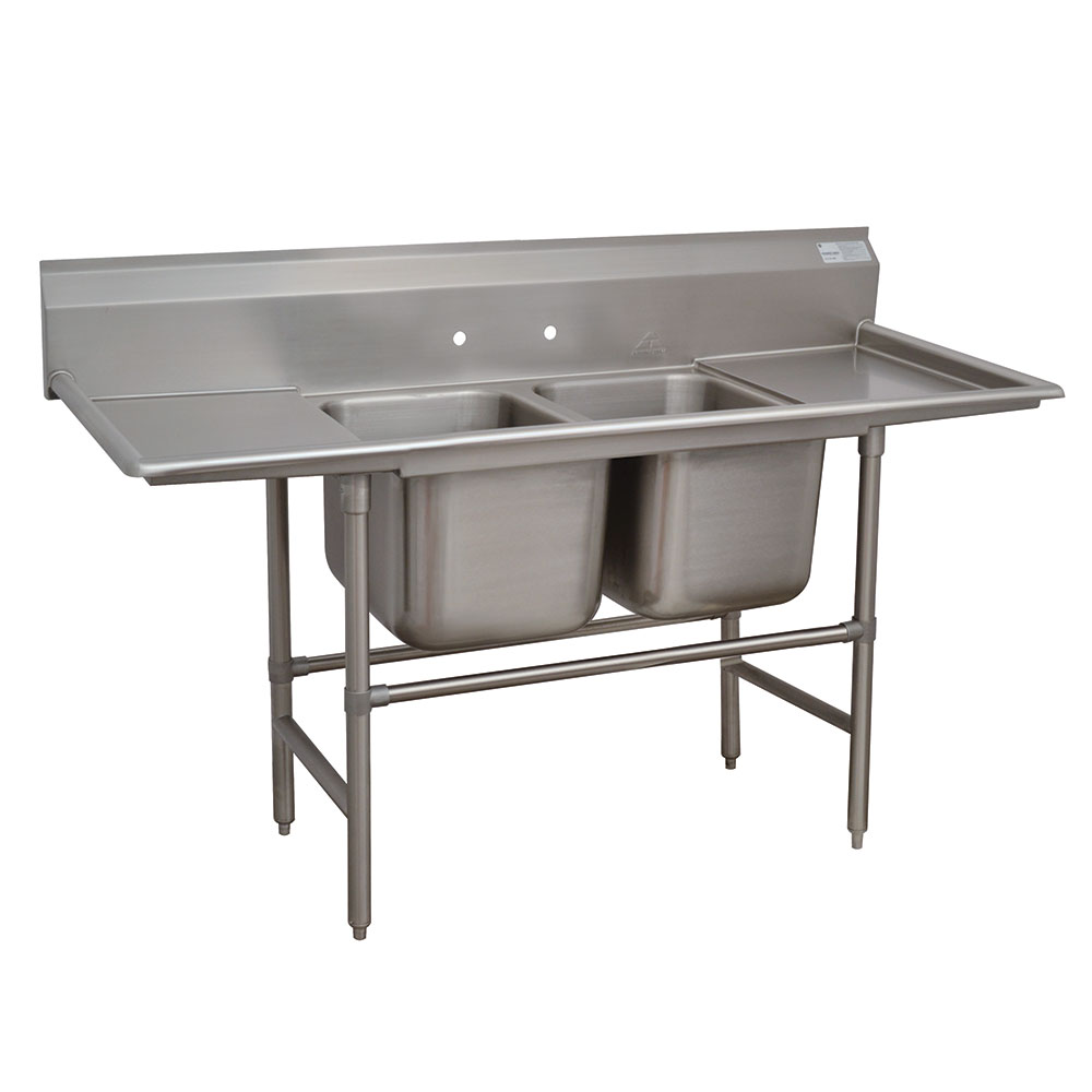 "Advance Tabco 94-2-36-18RL 73"" 2-Compartment Sink w/ 16""L x 20""W Bowl, 14"" Deep"