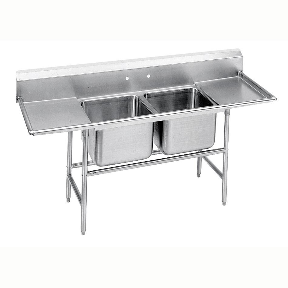 """Advance Tabco 94-2-36-24RL 85"""" 2-Compartment Sink w/ 16""""L x 20""""W Bowl, 14"""" Deep"""