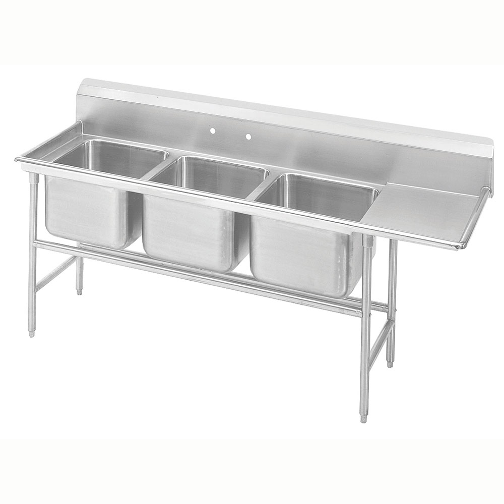 "Advance Tabco 9-43-72-24R 107"" 3-Compartment Sink w/ 24""L x 24""W Bowl, 12"" Deep"