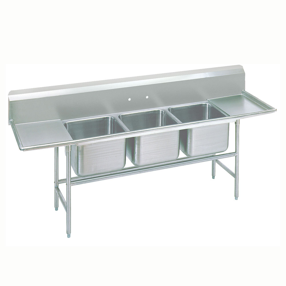 "Advance Tabco 9-43-72-24RL 127"" 3-Compartment Sink w/ 24""L x 24""W Bowl, 12"" Deep"