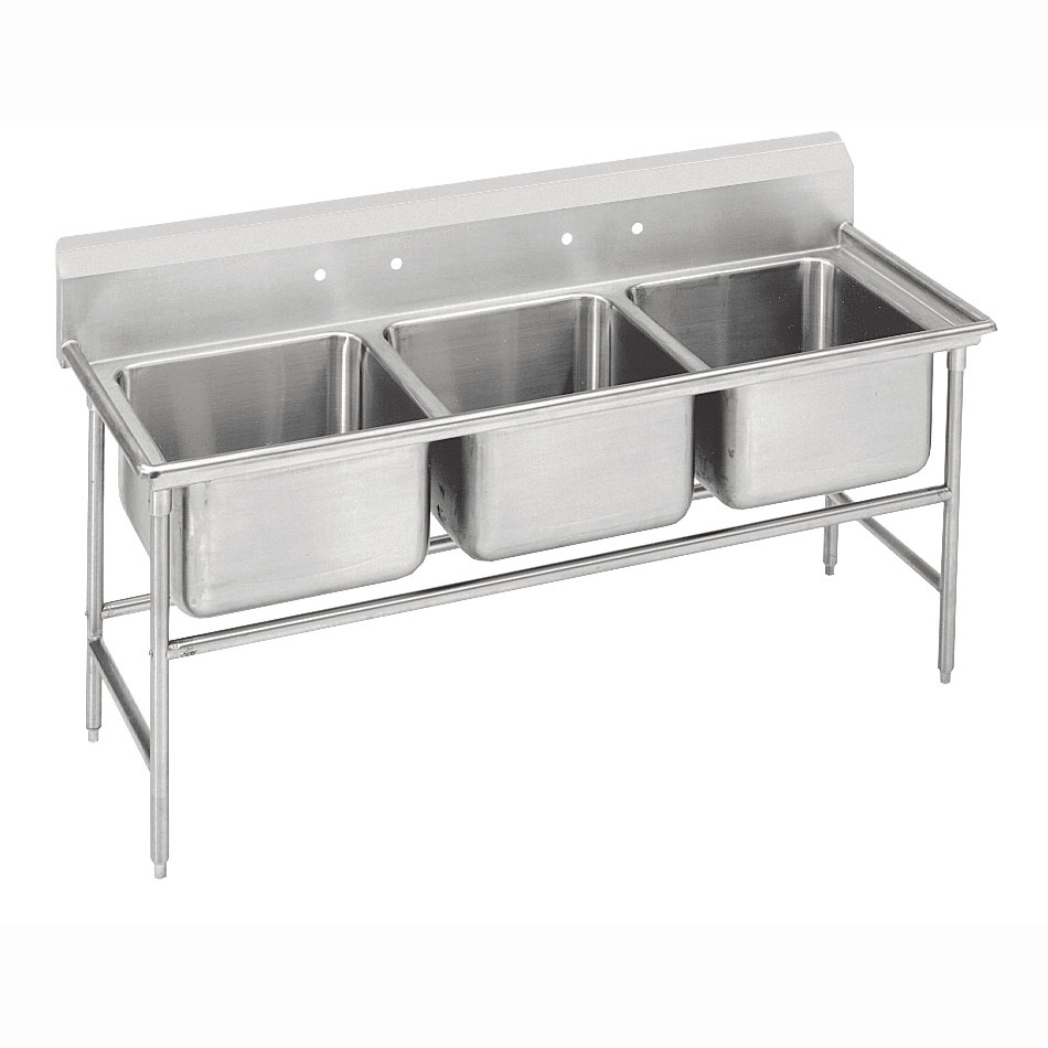 "Advance Tabco 9-43-72 86"" 3-Compartment Sink w/ 24""L x 24""W Bowl, 12"" Deep"