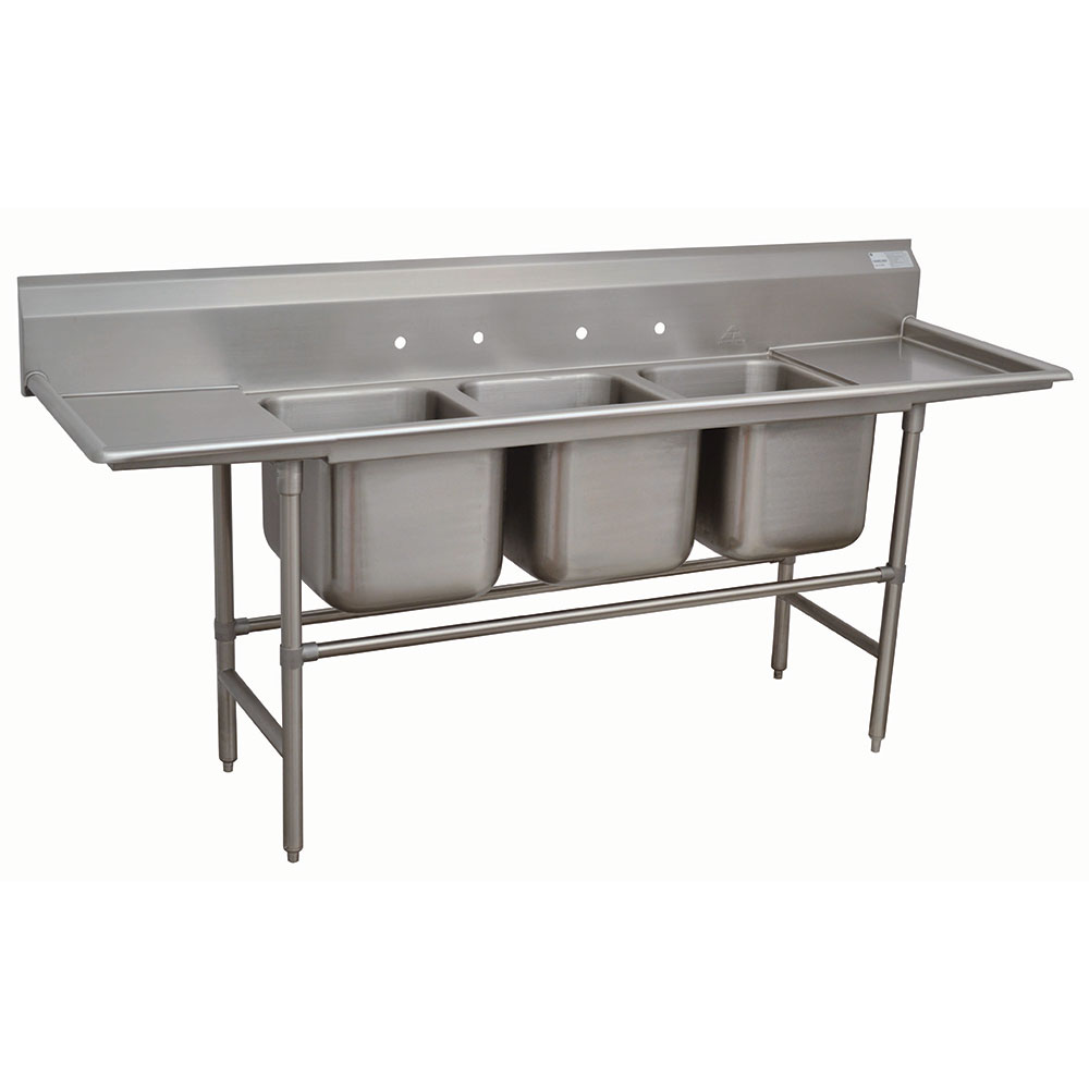 "Advance Tabco 94-43-72-24RL 127"" 3-Compartment Sink w/ 24""L x 24""W Bowl, 14"" Deep"