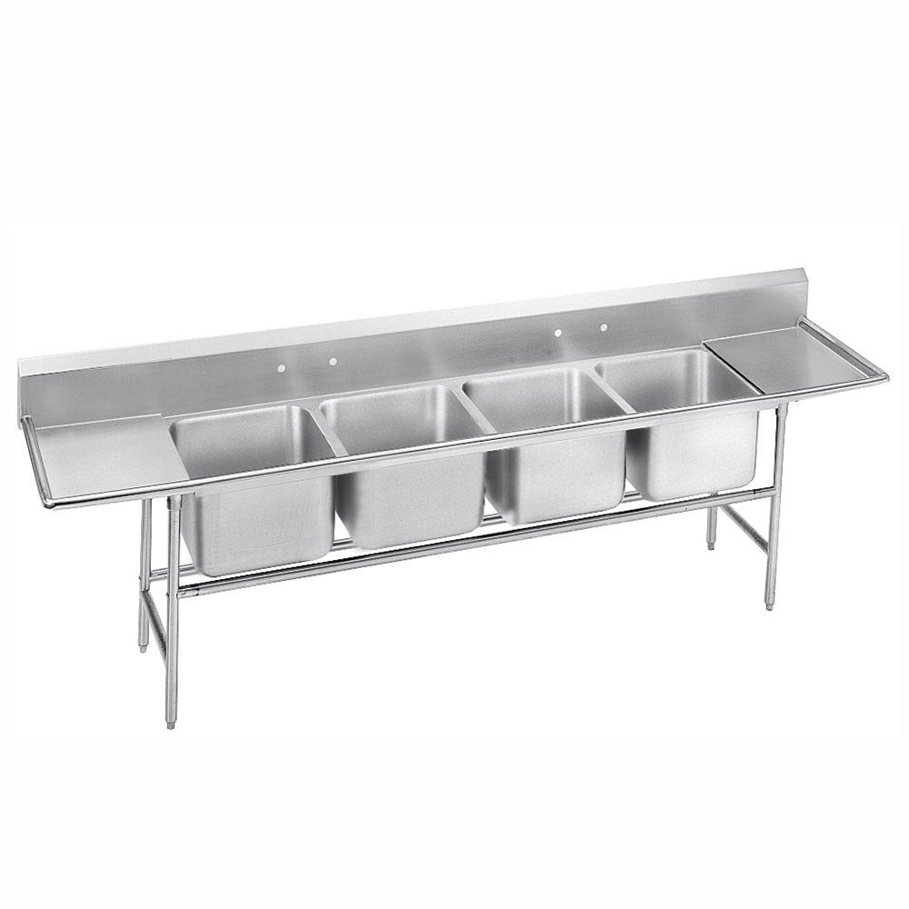 """Advance Tabco 94-44-96-24RL 154"""" 4-Compartment Sink w/ 24""""L x 24""""W Bowl, 14"""" Deep"""