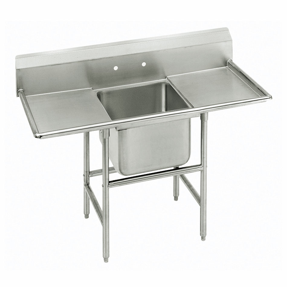 """Advance Tabco 94-61-18-36RL 92"""" 1-Compartment Sink w/ 18""""L x 24""""W Bowl, 14"""" Deep"""