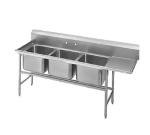 Advance Tabco 94-63-54-36R Sink, (3) 24 x 18 x 14-in D, 36-in Right Drainboard, 14-Ga. Stainless