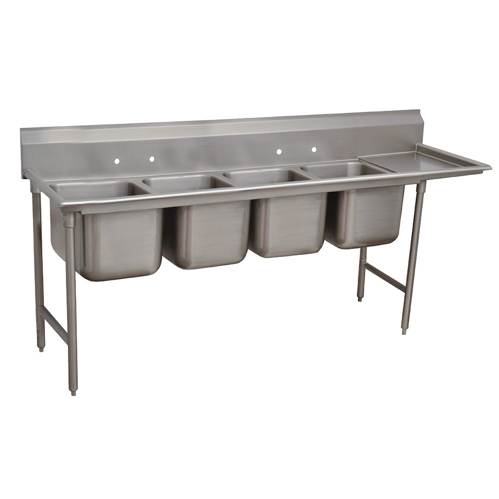 "Advance Tabco 9-4-72-18R 95"" 4-Compartment Sink w/ 16""L x 20""W Bowl, 12"" Deep"