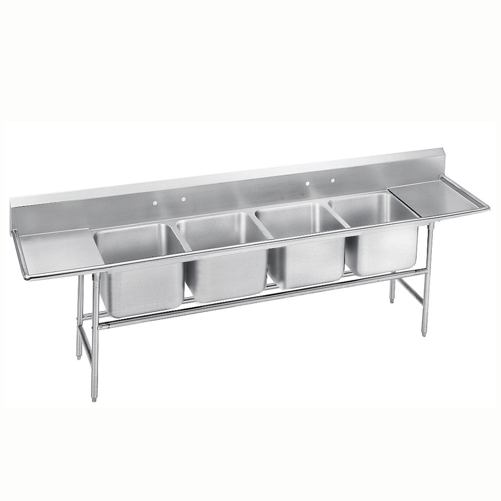 "Advance Tabco 9-4-72-36RL 146"" 4-Compartment Sink w/ 16""L x 20""W Bowl, 12"" Deep"