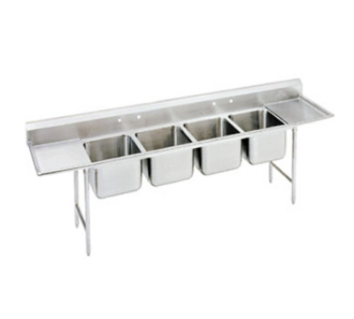 Advance Tabco 94-84-80-36RL Sink (4) 28 x 20 x 14-in D 36-in L & R Drainboard 14-Ga. Stainless Restaurant Supply