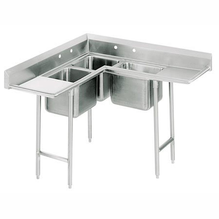 "Advance Tabco 94-K5-11D 42"" 3-Compartment Sink w/ 10""L x 14""W Bowl, 10"" Deep"