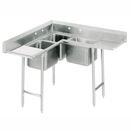 """Advance Tabco 94-K8-30D 86"""" 3-Compartment Sink w/ 20""""L x 20""""W Bowl, 12"""" Deep"""
