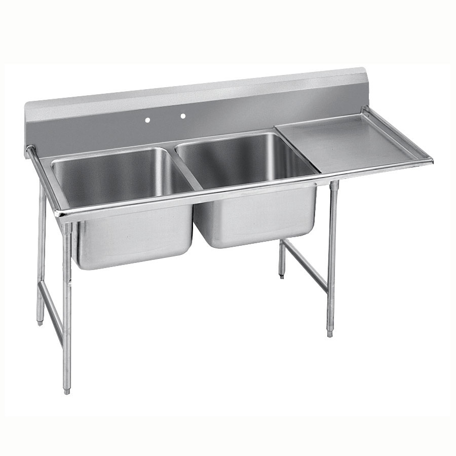 "Advance Tabco 9-62-36-18R 62"" 2-Compartment Sink w/ 18""L x 24""W Bowl, 12"" Deep"