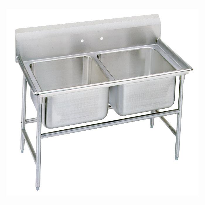 """Advance Tabco 9-62-36 48"""" 2-Compartment Sink w/ 18""""L x 24""""W Bowl, 12"""" Deep"""