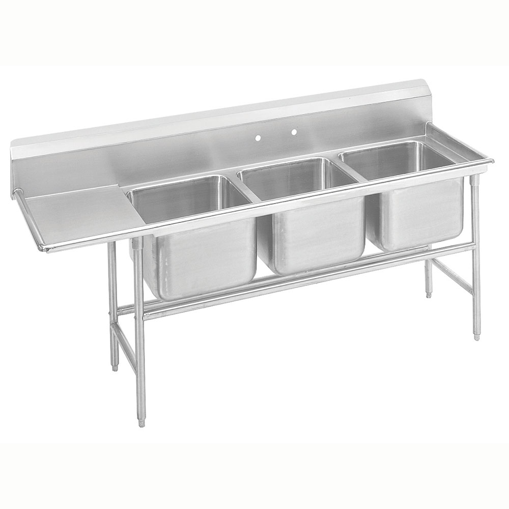 "Advance Tabco 9-63-54-24L 89"" 3-Compartment Sink w/ 18""L x 24""W Bowl, 12"" Deep"