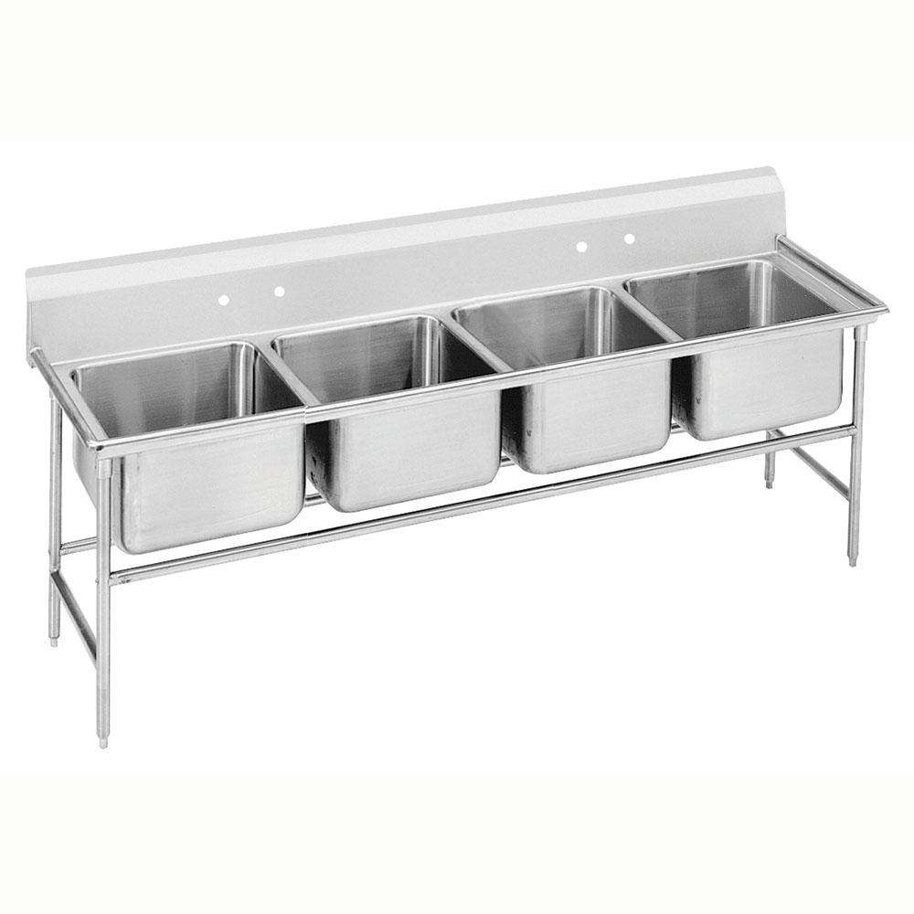 """Advance Tabco 9-64-72 89"""" 4-Compartment Sink w/ 18""""L x 24""""W Bowl, 12"""" Deep"""