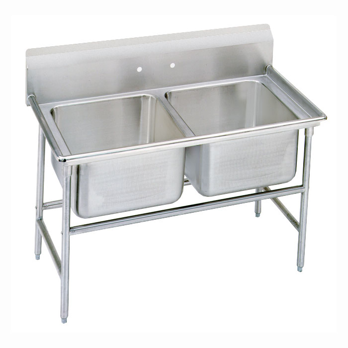 "Advance Tabco 9-82-40 52"" 2-Compartment Sink w/ 20""L x 28""W Bowl, 12"" Deep"