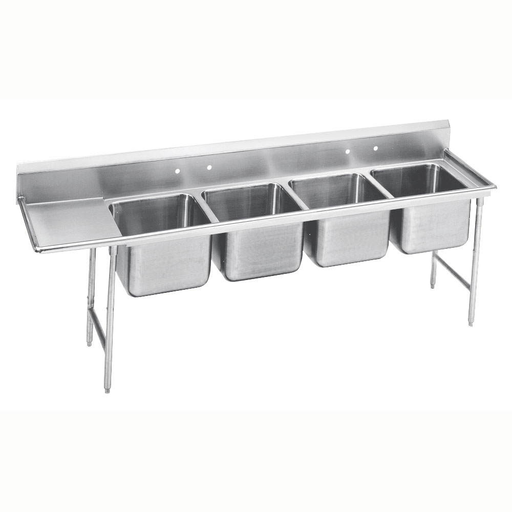 """Advance Tabco 9-84-80-36L 129"""" 4-Compartment Sink w/ 20""""L x 28""""W Bowl, 12"""" Deep"""