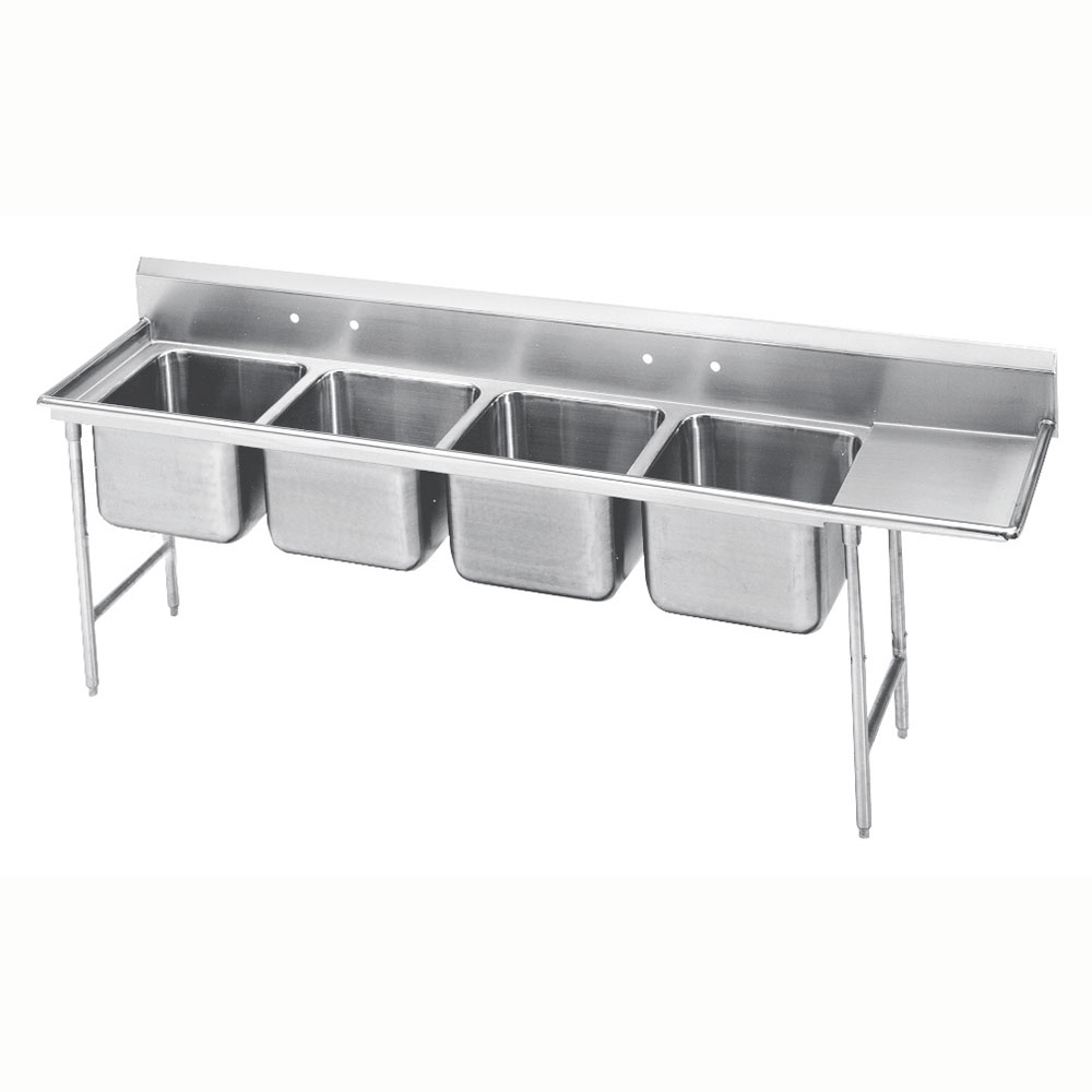 "Advance Tabco 9-84-80-36R 129"" 4-Compartment Sink w/ 20""L x 28""W Bowl, 12"" Deep"