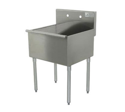 "Advance Tabco 4-41-36 Square Corner Kitchen Sink - 24x36x14"" Bowls, 16-ga 430-Stainless"