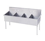 "Advance Tabco 4-4-72 Square Corner Kitchen Sink - (4) 21x18x14"" Bowls, 16-ga 430-Stainless"