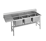 "Advance Tabco 94-63-54-24L 89"" 3-Compartment Sink w/ 18""L x 24""W Bowl, 14"" Deep"
