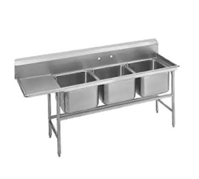 "Advance Tabco 94-3-54-36L Sink - (3) 20x16x14"" Bowl, 36"" Left Drainboard, 14-ga 304-Stainless"