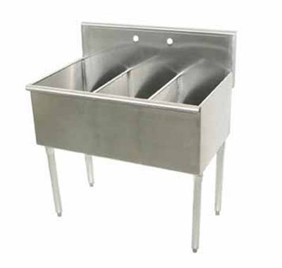 "Advance Tabco 6-3-36 Square Corner Kitchen Sink - (3) 21x12x14"" Bowls, 16-ga 300-Stainless"