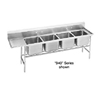 "Advance Tabco 94-64-72-18L Sink - (4) 24x18x14"" Bowl, 18"" Left Drainboard, 14-ga 304-Stainless"