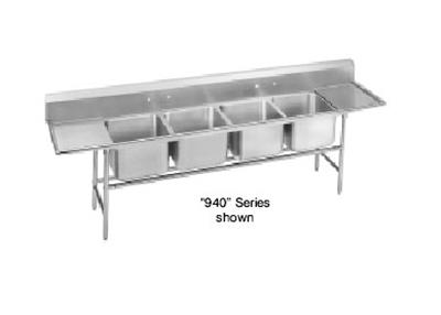 "Advance Tabco 94-64-72-36RL Sink - (4) 24x18x14"" Bowl, 36"" L-R Drainboard, 14-ga 304-Stainless"
