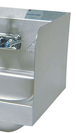 "Advance Tabco 7-PS-16C 7.75"" Tall Welded Side Splash for Hand Sinks - 16x14"", 16x20"" Bowls"