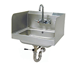"Advance Tabco 7-PS-40 Wall Hand Sink - 14x10x5"" Bowl, Splash Mount Faucet, Side Splash, Lever Drain"