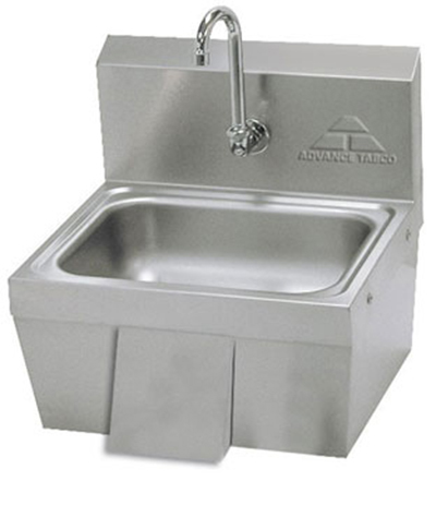 "Advance Tabco 7-PS-44 Wall Hand Sink - 14x10x5"" Bowl, Splash Mount Gooseneck, 20-ga 304-Stainless"
