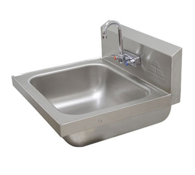 "Advance Tabco 7PS49 Wall Hand Sink - 16x14x8"" Bowl, Splash Mount Faucet, Basket Drain"