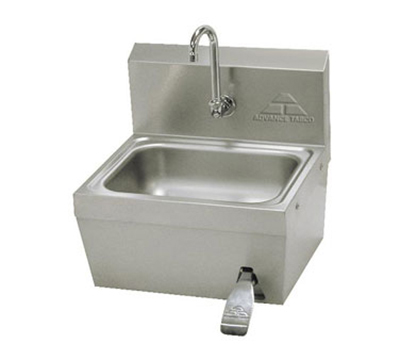 "Advance Tabco 7-PS-62 Wall Hand Sink - 14x10x5"" Bowl, Splash Mount Gooseneck, Knee Valve, Basket Drain"